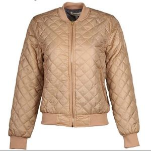 Tan Quilted Bomber Lightweight Jacket Size Large